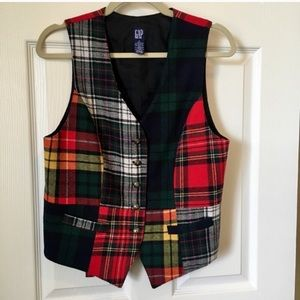 Vintage Gap Plaid Vest Red Green Black Yellow